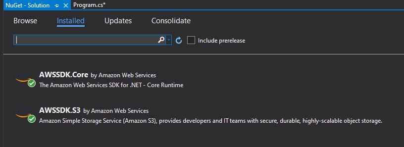 Amazon S3 .NET SDK File Code Example